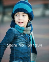 children warm hats and scarf set in winter protect ears Korea style ,baby caps and scarf 100%wool can wholesale FREE SHIPPING