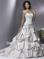 Free Shipping Hot-sale Custom made SD-1 High Quality Satin   A-line  Strapless Wedding Dress