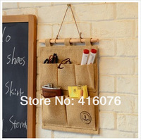 Free Shipping! 2pcs/lot Eco-friendly Linen & Cotton Material Storage Bag Wall Pocket 5 Pockets Anchor Design Hot Selling! S1008