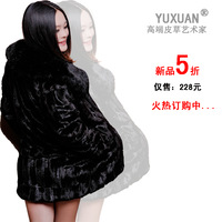 free shipping 2013 mink hair long-sleeve paragraph marten overcoat fur women's outerwear