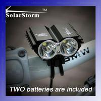 [2 Batteries included]  BLACK SolarStorm X2 Bike Light 2*CREE XM-L U2 4 Modes LED 2000LM Dual Head Bike light/bike front light
