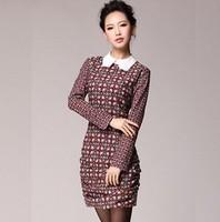 European New Fashion 2014 Spring Long Sleeve Dress Turn-down Collar Geometric Print Women Dress S/M/L/XL Party Dresses
