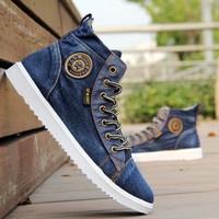 2013 trend autumn canvas shoes male high denim shoes fashion popular men's casual shoes skateboarding shoes