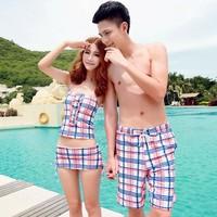 Lovers swimwear piece set split skirt style swimsuit beach set bikini swimwear female small push up