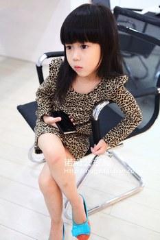 [ Bear Leader ] 1pcs baby girl clothing taste leopard print ruffle hem one-piece dress Children clothes Clothing AQZ028