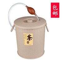 Good Rattan bamboo chatong tea-leaf bucket plastic tea bucket with drain pipe