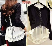 2013 Korea Autumn New Women Tees Backside Tether Lace False Two Pieces Long Sleeve  T-shirt