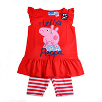 2013 new Peppa Pig set for girl ,Free shipping! Brand New Peppa Pig girl girls kids t shirt +pants outfit clothing set suits