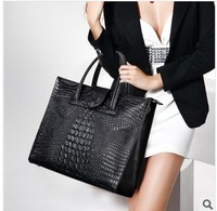 The new 2013 brand 100% han edition cowhide leather handbag crocodile grain female bag portable oblique cross bag handbag