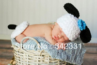 Free shipping  sheep  baby hat and shawl handmade crochet photography props baby hat and shawl