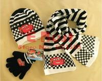 Hot Sale! Retail! 1 set/lot Cartoon Cars scarves Fashion scarf+ hat+ gloves Kids Winter caps Children warm wear