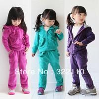 2013 Autumn Girls Velvet Clothing sets Sport suit Kids suits 100% Brand Tracksuit Casual costume 2pcs/set 100-140cm Drop shpping