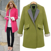 2013 autumn and winter medium-long fashion elegant slim woolen overcoat  female Wool blends coat jacket best quality plus size
