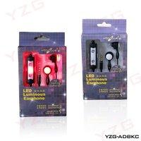 Free shipping 50pcs/lotThe 3.5MM  LED colorful light-emitting diamond ear headphones MP3 cell phone headset / computer headset