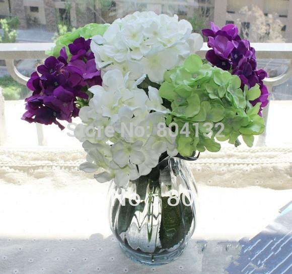 Silk Artificial Hydrangea Pincushion Laurustinus Flower For Wedding
