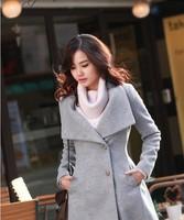 Free shipping New  Fashion 2013  Women Wool single-breasted Long Coat,Gray/black/white,S / M / L /XL