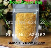 13*18cm+3.5cm    load 300g rice standing food visualable bag food zipper plastic bags 200pcs/lot