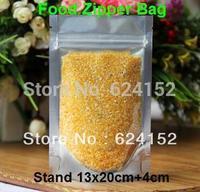 13x20cm+4cm bottom    load 350g rice standing food visualable bag food zipper plastic bags 200pcs/lot