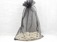"Free CN Shipping Wholesale 50PCS LARGE  20*30cm BLACK PLAIN ORGANZA Jewelry Gift Bags 8*12"" Wedding Favours VOILE Pouch"