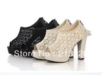 Free Shipping Drop Shipping New Style Back-zip Pumps Women's High-Heeled Shoes Sexy Lace Tassel 8cm