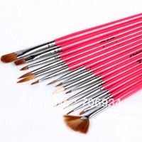 Nail Art Pen Nail Polish ways Art Brush Nail Pen 15pcs Wood Black Red Naill Art Brush Nail Brush Pen Set Brushes