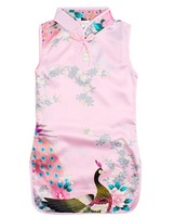 Fashion Baby Girl Peacock Cheongsam Girl Flower Tang Suit Girl Princess Dress Free Shipping