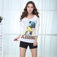 Female long-sleeve slim o-neck white print casual t-shirt all-match basic shirt