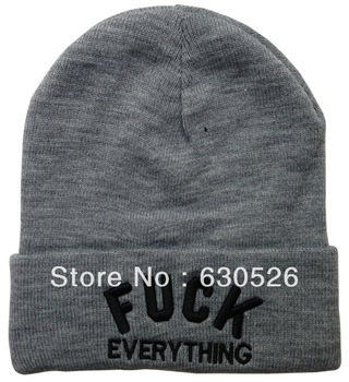 12pcs/lot Fuck EVERYTHING Black Grey  Beanie  warm Cap Classic Beanie   bulk order more discount