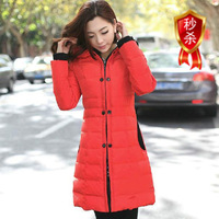 STOCK!!!2013 new arrival Women's down cotton-padded jacket brand slim medium-long COAT women's plus size winter wadded jacket