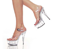 15cm wedding shoes transparent crystal platform shoes sandals fashion plus size formal dress shoes