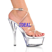 Crystal shoes 15cm ultra high heels transparent crystal sandals shoes fashion formal dress shoes