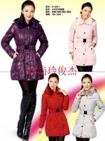 2013 winter Women's Down coat down jacket medium-long female Long-sleeved Cotton Winter down Coats Jacket S -XXXL with belt