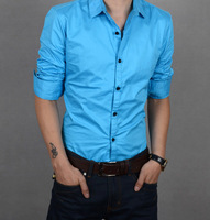Cshluo autumn 2013 solid color slim male long-sleeve shirt men's clothing shirt male blue