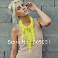 Fashion Neon Tassel Beads Necklace Tassel Necklace Neon Yellow White