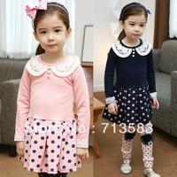 New style fashion baby girl  Lace collar dot  long-sleeved  dress ,1pcs/lot