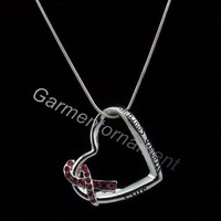 3pcs heart shaped with letter cure strength courage pink breast cancer ribbon awareness snake chain necklace