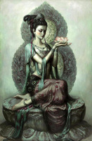 "Stunning Oil painting Avalokitesvara Guanyin holding a lotus flowers canvas 36"""