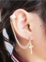 wholesale 18k gold plated cross ear clip earrings clip earrings, fashion punk European American lady ear cuffs