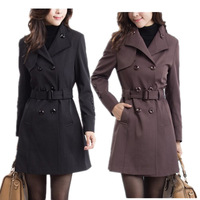 2013 autumn coat  big size sashes standard trench outerwear plus size  women long sleeve belt  trench coat 3xl 4xl 5xl