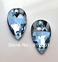 Free shipping(84pcs per lot)Crystal Sew On Rhinestone Aquamarine Colour 11*18mm Drop Shape Sew On Stone