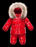France design Top quality 2013 New children's ski suit boys girls down coat set child Raccoon fur collar down jacket+pants set