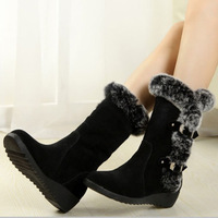 Women's fashion winter genuine leather snow boots waterproof wedges medium-leg rabbit fur boots boots cowhide