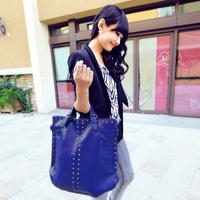 2014 emphasized new arrival women's handbag shiny fashion big bag vintage rivet bag handbag bags