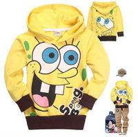 free shipping 6pcs/lot 2013 autumn outfit new spongebob hoodies kids children long sleeve tops jacket sweatshirt