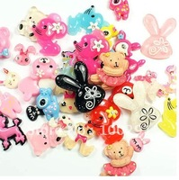 Free ship! 10-40mm  animal Flat Back decoration popular kawaii flat back resin cabochons for DIY decoration phone beads