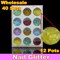 [ NG - DW01 ] Wholesale 12 Pots Nail Art Glitter Set, Paillette Powder Spangles Decoration For UV Nail + Free Shipping