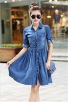 2014 Autumn Plus size Women Denim Fashion Button Decorated Turn down Collar Full Sleeves Knee Jean Dress Blue