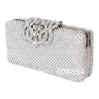 Hot Fashion Lady Banquet Crystal Evening Purse Bridal Party Clutch bag Handbag Silver