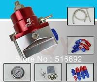 7MGTE MKIII Fuel Pressure Regulator with hose line kits&Fittings&Gauge Red