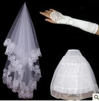 Piece set 2013 bridal veil pannier gloves accessories